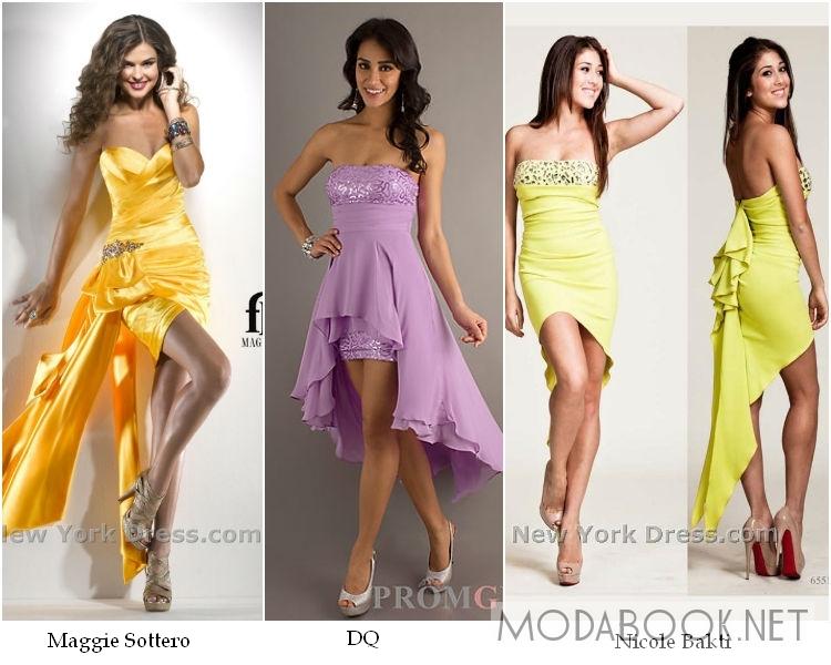 Коктейльные выпускные платья 2014 асимметричного кроя
