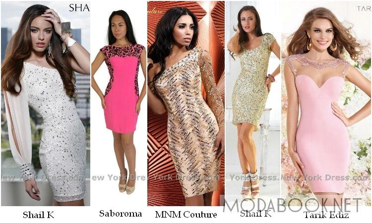 Блестящие коктейльные платья на выпускной 2014