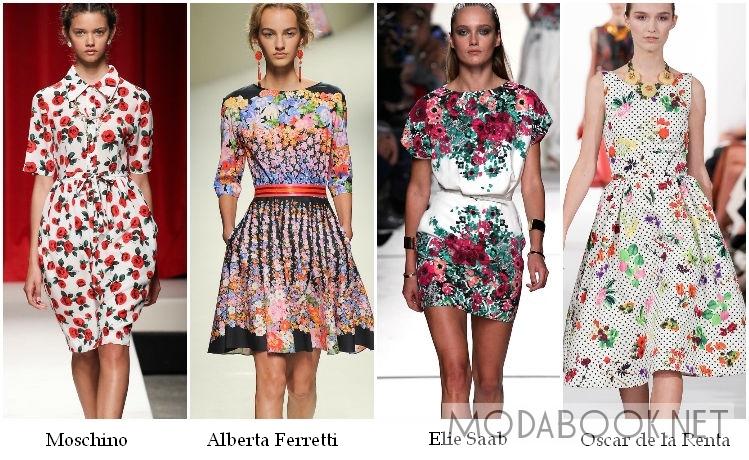 Цветочные коктейльные платья 2014
