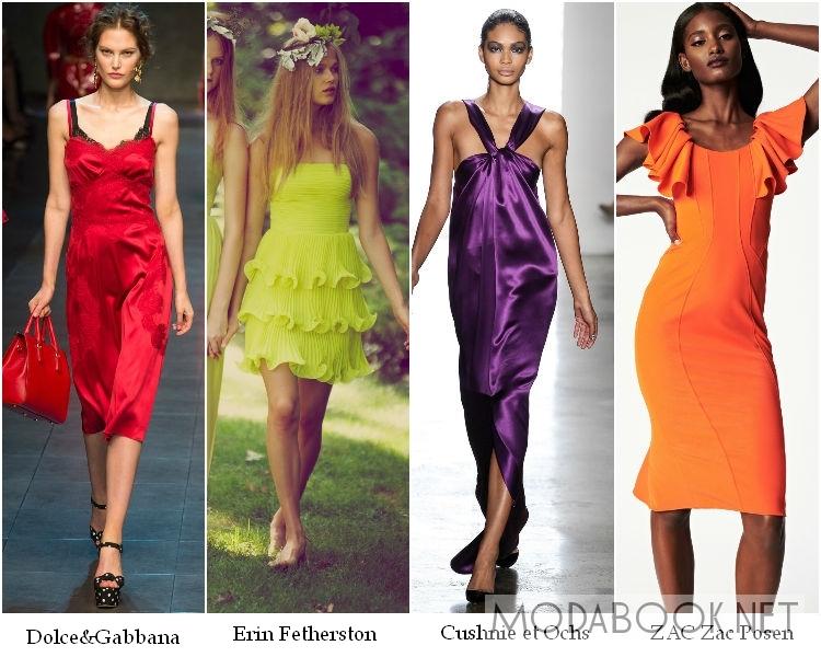 Цветные коктейльные платья 2014