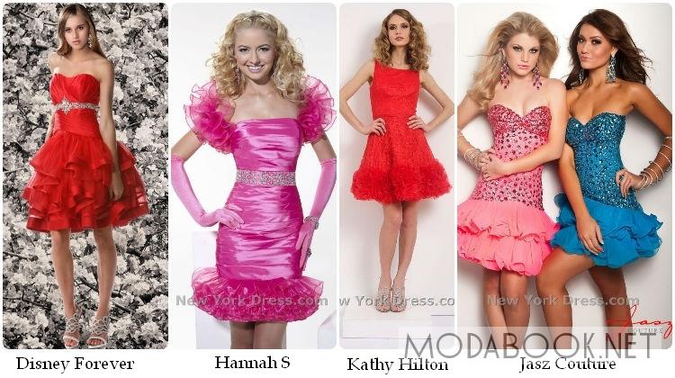Коктейльные платья на выпускной с воланами 2014