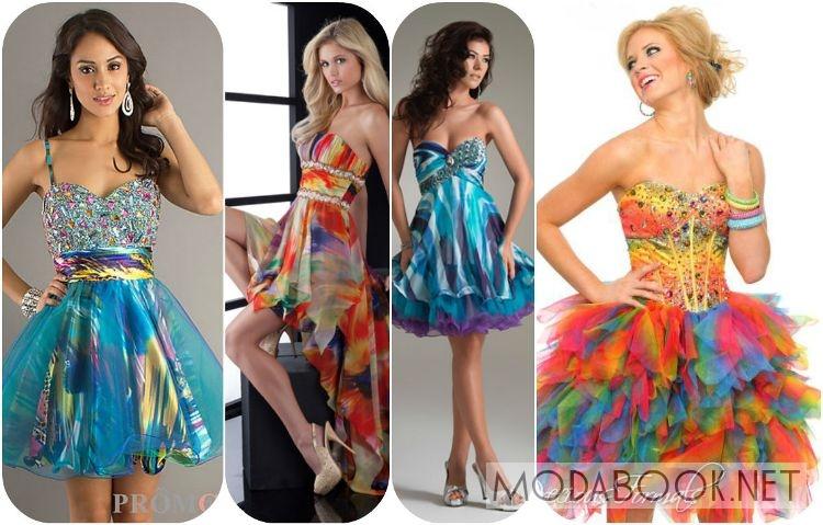 Короткие платья на выпускной 2014 с принтом