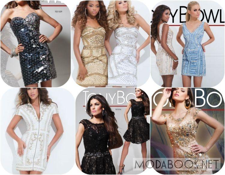 Короткие платья на выпускной 2014 с вышивкой и стразами
