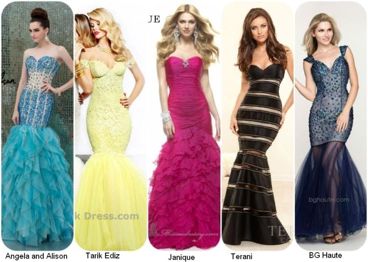 Выпусные длинные платья 2014 в стиле русалочий хвост