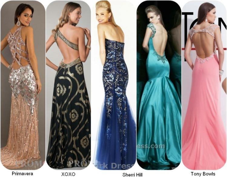Длинные выпускные платья 2014 с открытой спиной