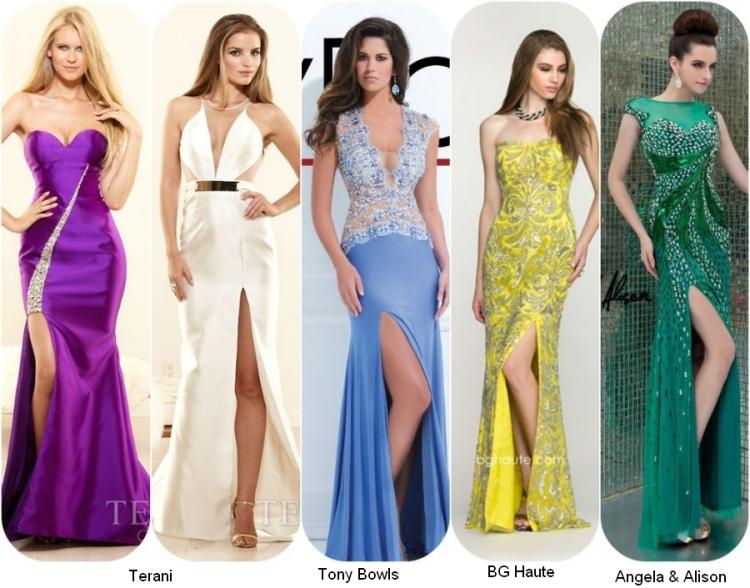 Длинные выпускные платья 2014 с разрезом