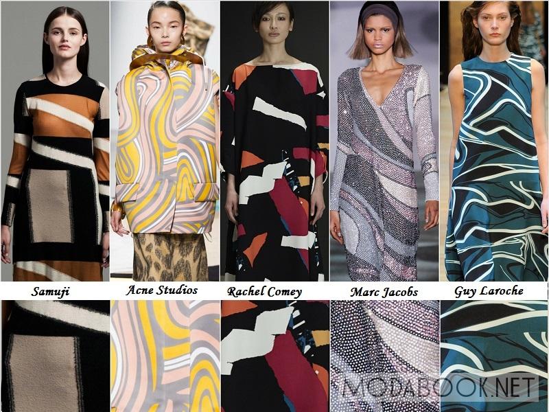 Ломанные линии в принтах на женской одежде