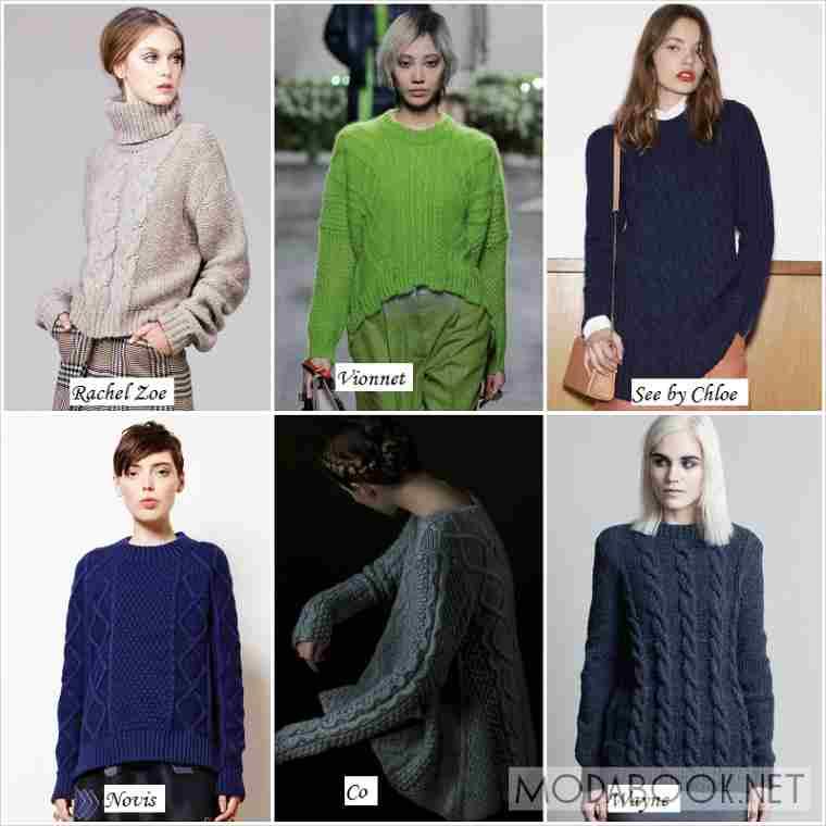 Аранское плетение в свитерах осенних коллекций 2019 года