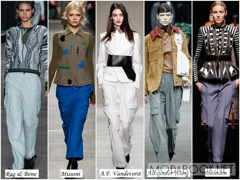 Женские брюки с накладными карманами осень зима 2017-2018
