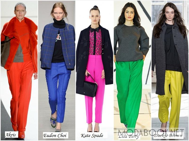 Разноцветные осенние брюки 2018 года