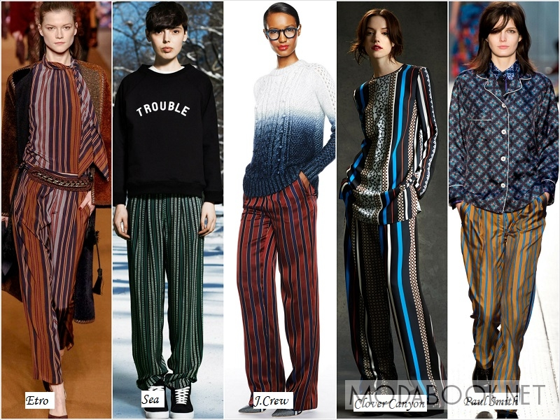 Женские брюки в пижамном стиле - осень 2018