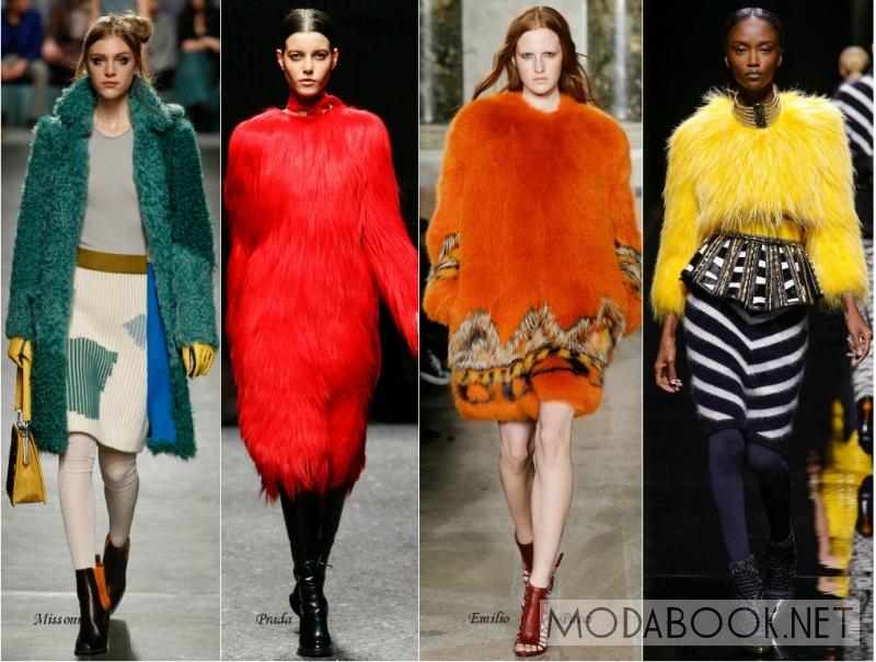 Модные разноцветные шубы зимы 2017-2018
