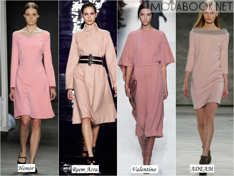 Пастельно-розовые платья осени 2014 года