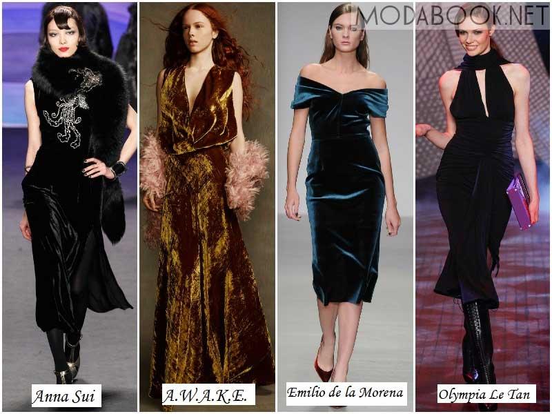 Бархатные платья из осенних коллекций 2014 года