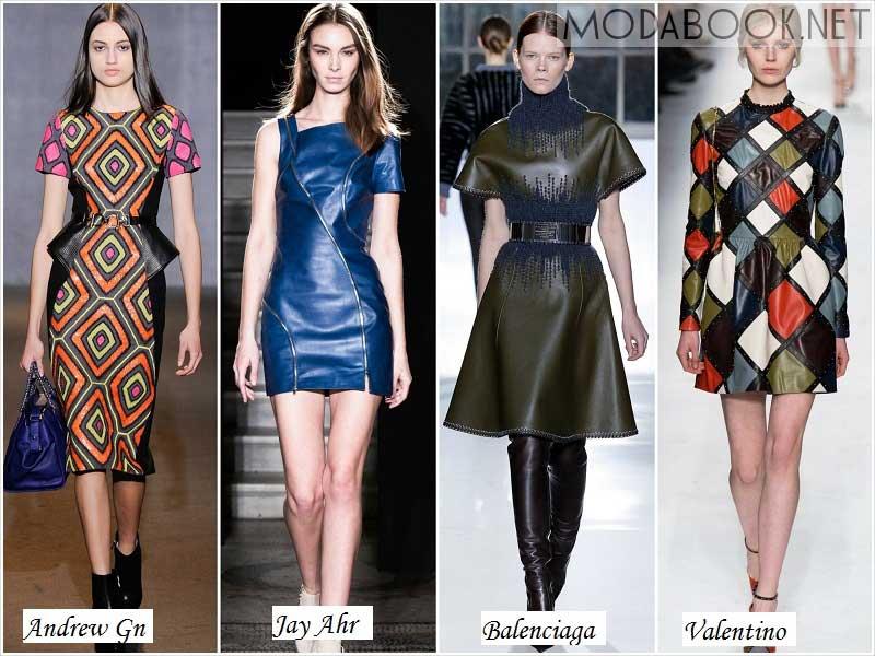 Платья из кожи на осень 2014