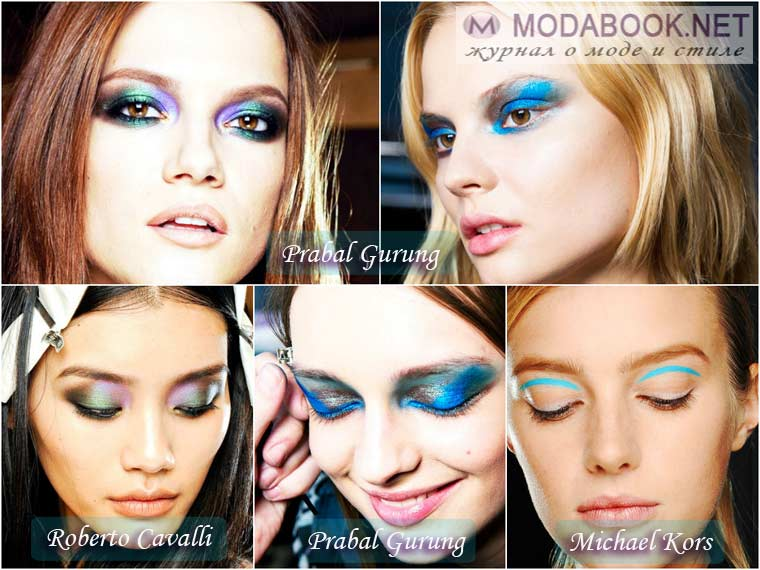 Сине-зеленые тени в макияже на Новый год 2015