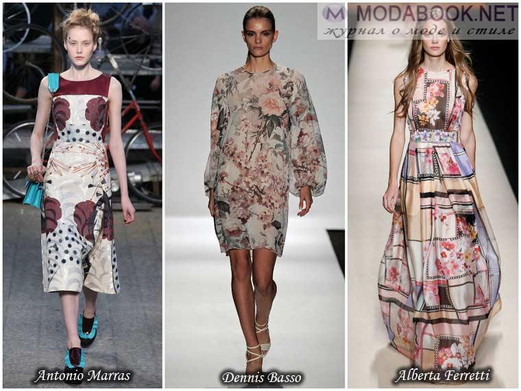 Цветные рисунки на ткани платья весна 2015