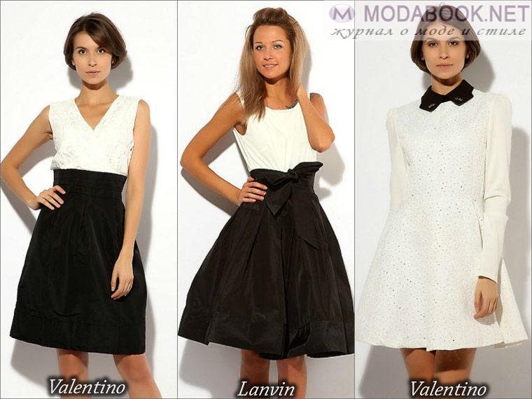 Черное-белое сочетание короткого платья на выпускной