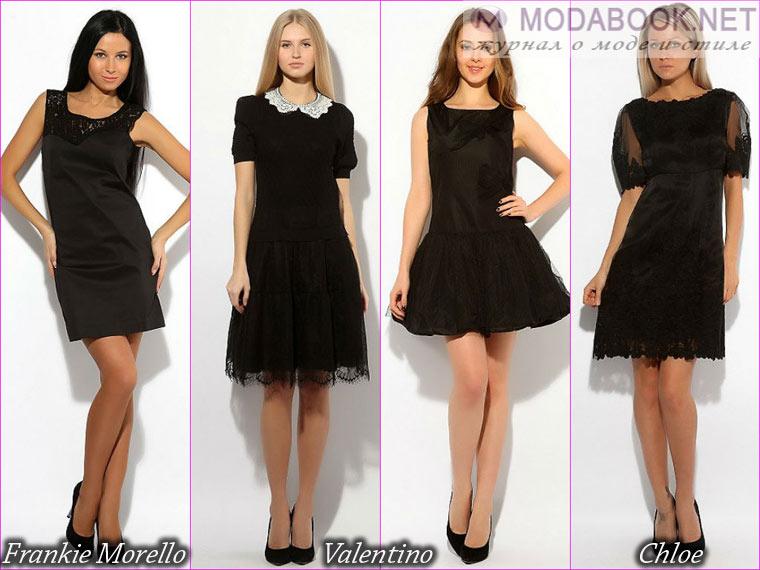 Короткое классическое черное платье