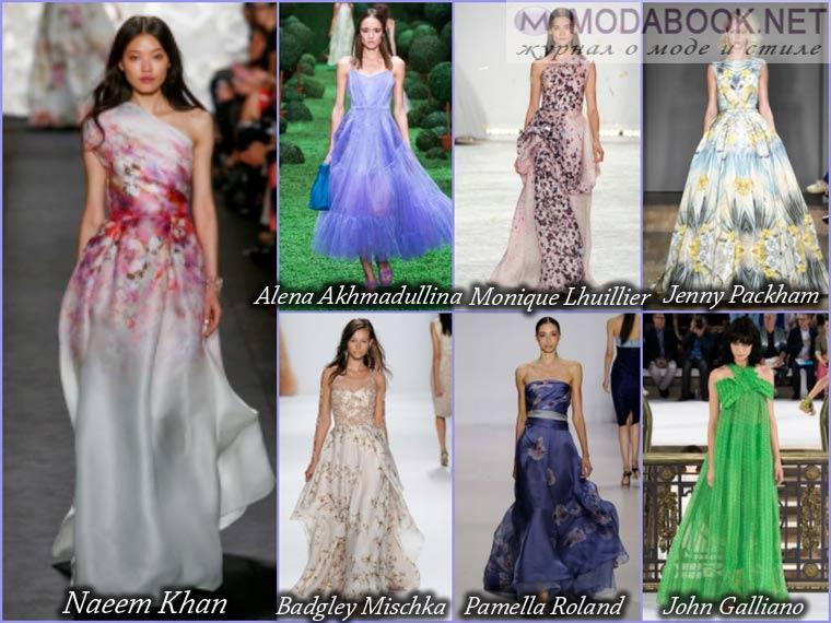 Разнообразие цветов и декора длинного выпускного платья 2015