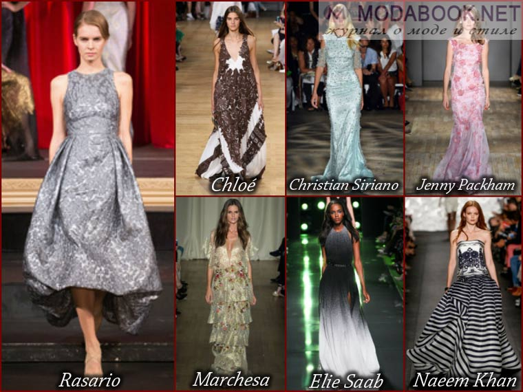 Разнообразие цветов длинного выпускного платья 2015