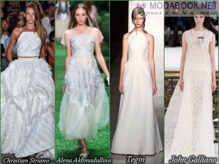 Празднично белое длинное выпускное платье