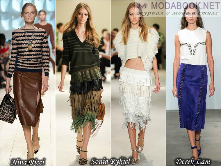 Модные юбки лето 2015 из кожи и замши