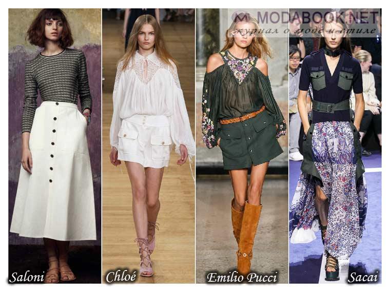 Модные юбки лето 2015 с карманами