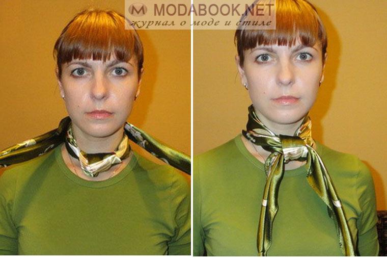 Завязывание косынки на шее в французском стиле