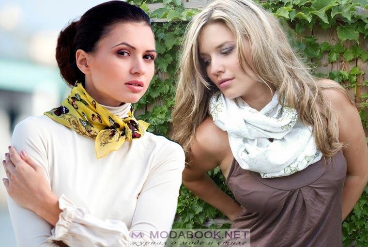 Как носить косынку на шее: сочетание цветов