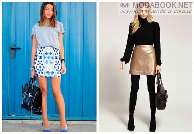 Сочетание мини-юбки 2015  и блузы