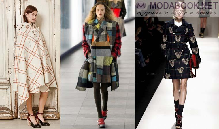 Модное пальто в клетку осень-зима 2015-2016