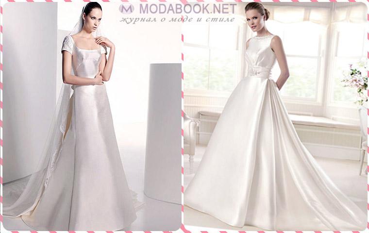 Длинные свадебные платья-2015 из атласного или матового шелка