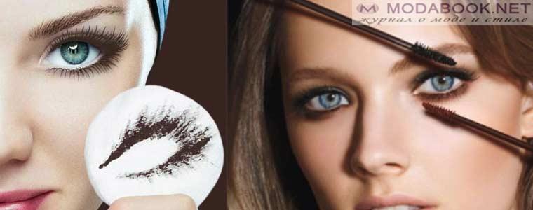 Красивые и роскошные ресницы в макияже голубых глаз