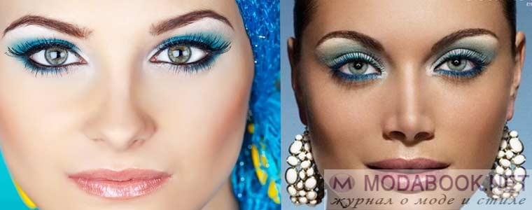Яркий бирюзовый цвет в макияже голубых глаз