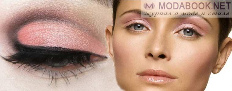 Загадочный розовый цвет макияжа голубых глаз