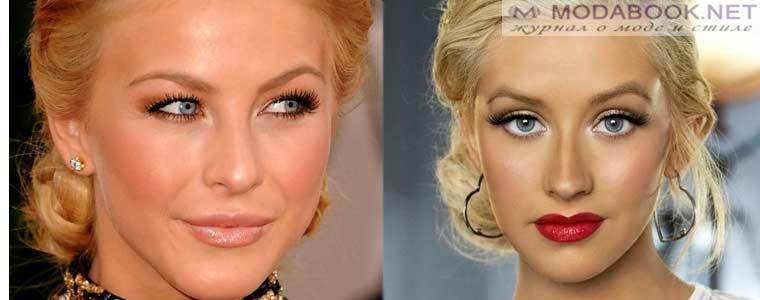 Золотистые тени в макияже для голубых глаз