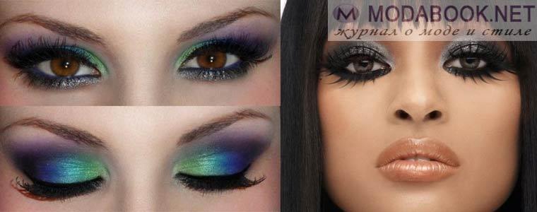 Вечерний вариант макияжа карих глаз