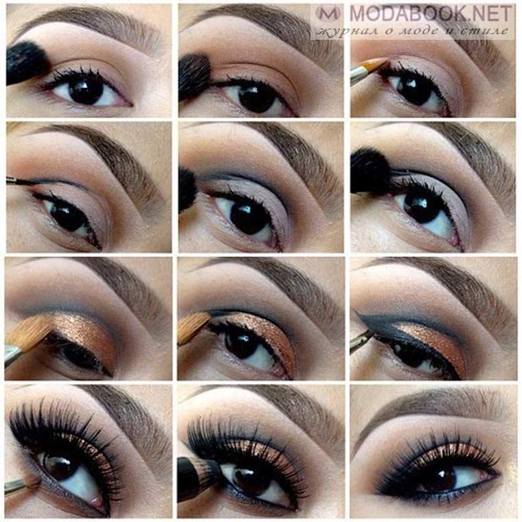 Пошаговое фото макияжа для карих глаз