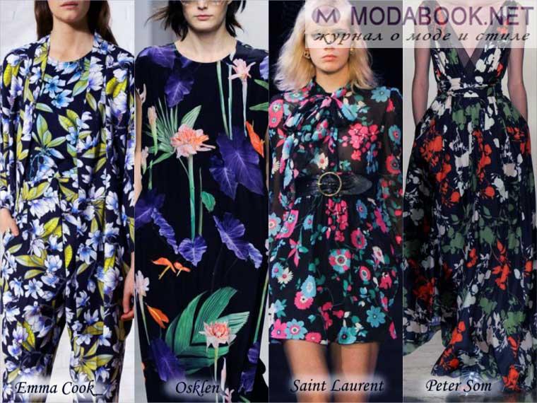 Летние модные принты 2015 ярких цветов на черном фоне