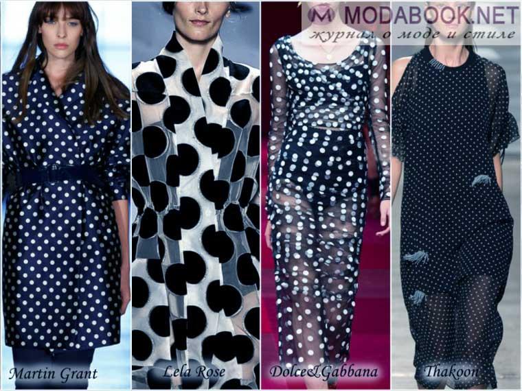 Модные принты в черно-белый горох к лету 2015