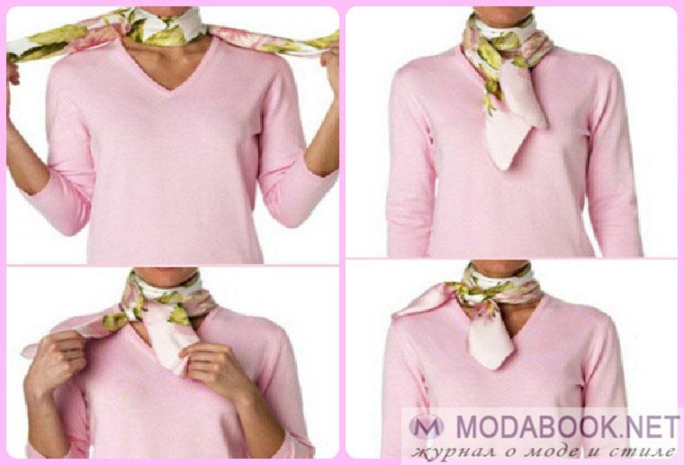 Способы завязывания шелковых шарфов