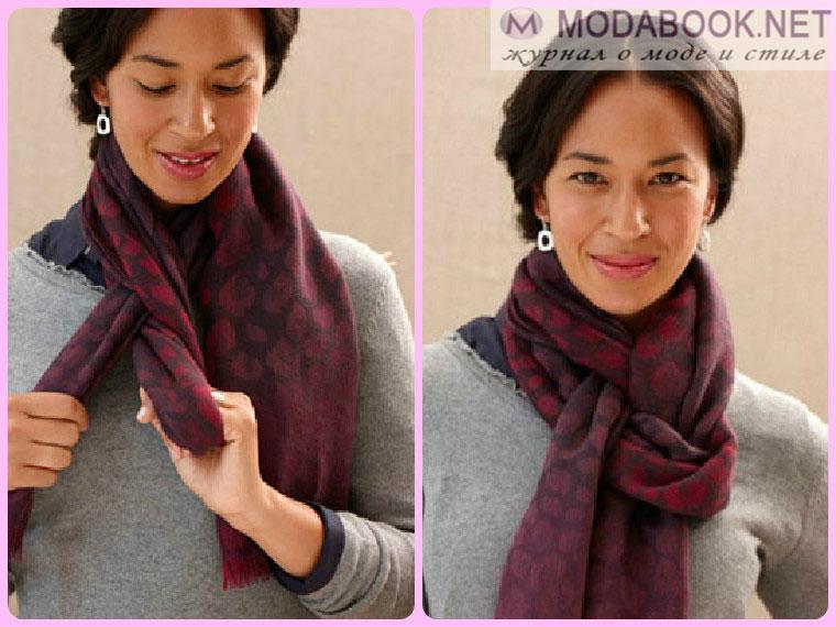 Элегантные способы завязывания шарфа на шее - петельная цепочка