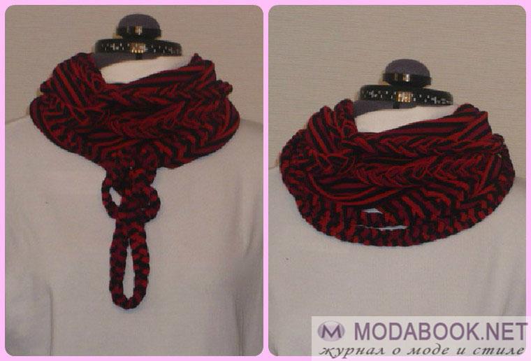 Элегантные способы завязывания шарфа на шее - плетеная петля