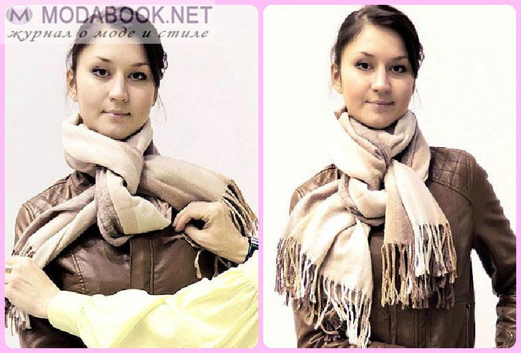 Элегантные способы завязывания шарфа на шее - ткацкая петля