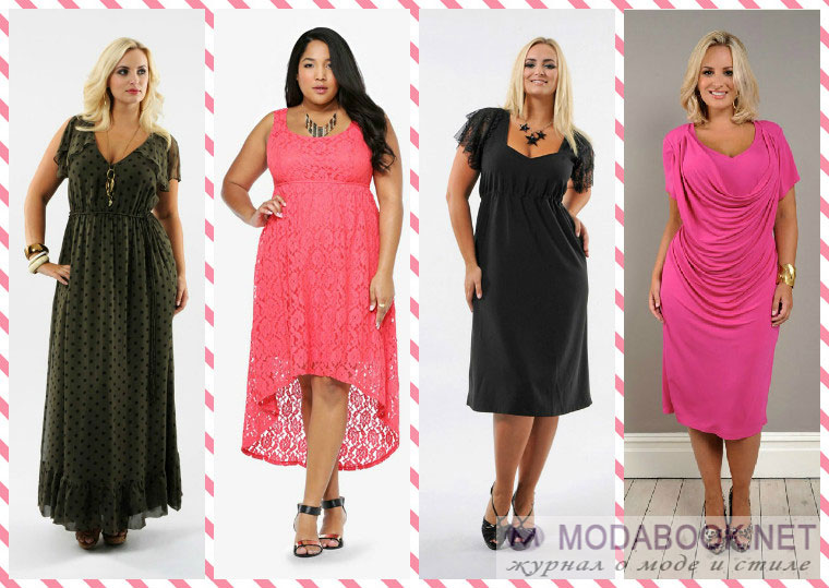 Очень популярны также геометрические и оптические принты в модном летнем гардеробе 2015 года для полных женщин. Такие рисунки не только украшают наряд и