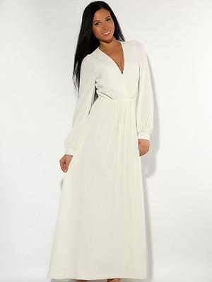 Белое платье с длинным рукавом 2016