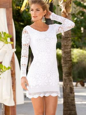 Белое платье 2016 вязанное