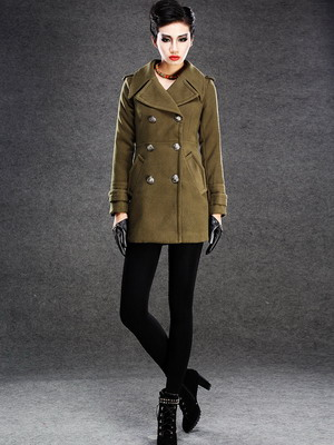 Драповое пальто в военном стиле 2015-2016
