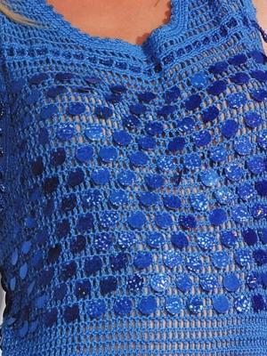 Как украсить трикотажное или вязаное платье пайетками